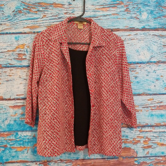 Notations Tops - Red Pattern Top